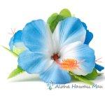 フラダンス 髪飾り ハイビスカス  髪飾り ラージ ブルー/ホワイト