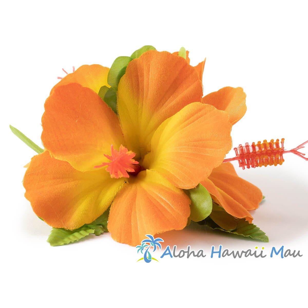 ハイビスカス髪飾り オレンジ