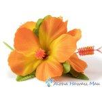 フラダンス 髪飾り ハイビスカス 髪飾り ラージ オレンジ