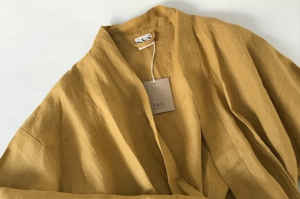 S&S Women Linen  Robe Faded Mustard