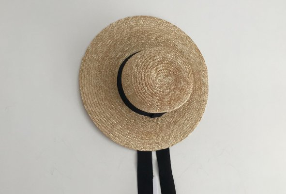CASA BLUE SWIM BOATER HAT WITH RIBBON TIES - GRANDE
