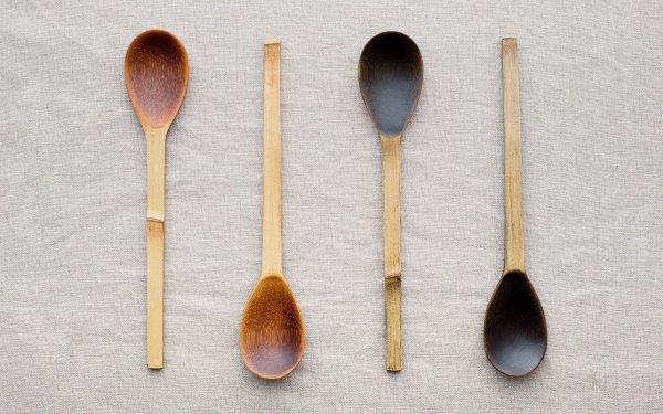 竹のスプーン 拭き漆 生漆(茶) | 黒漆