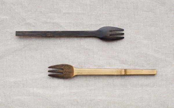 小さな竹のフォーク 拭き漆 生漆(茶) | 黒漆