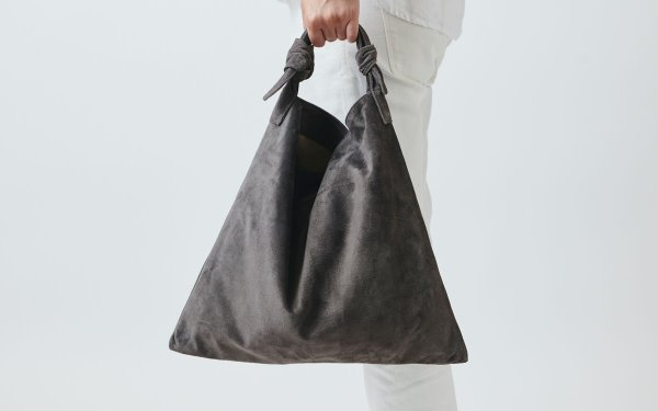 washable leather tie bag (gray)