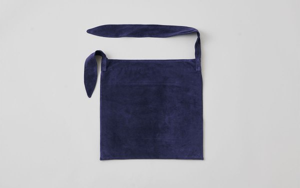 washable leather tie bag (navy)