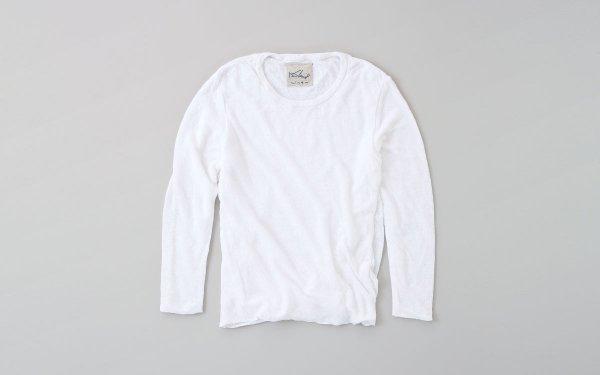 リネンニット レディース長袖プルオーバー | ホワイト
