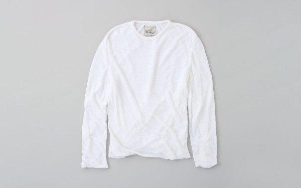 リネンニット メンズ長袖プルオーバー|ホワイト