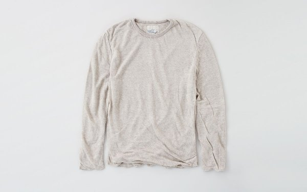 リネンニット メンズ長袖プルオーバー|ナチュラル