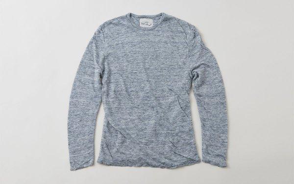 リネンニット メンズ長袖プルオーバー|グレー
