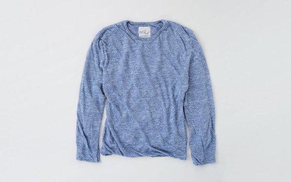 リネンニット メンズ長袖プルオーバー|ライトブルー