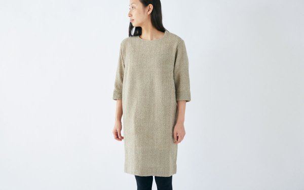 enrica herringbone dress beige
