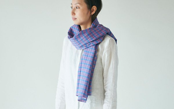 【sold out】リネンコットン 先染めチェックストール blue×pink