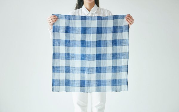 【sold out】本麻 先染めチェック四角布 blue×white