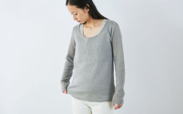 enrica mohair&silk knit / ice gray (botanical dye)
