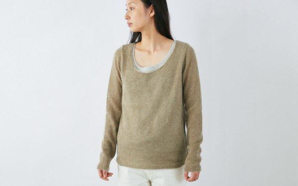 enrica mohair&silk knit / khaki (botanical dye)
