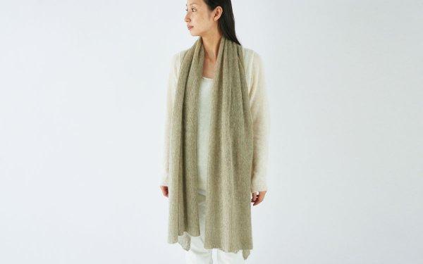 enrica mohair&silk muffler / kahki (botanical dye)
