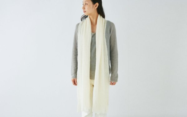 【sold out】enrica mohair&silk muffler / natural (offwhite)