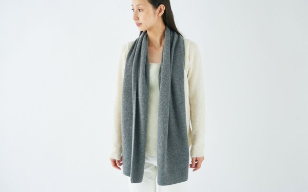 【sold out】enrica cashmere & sable muffler / dark gray