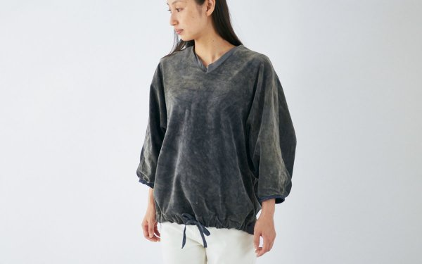 【sold out】enrica velour tops / dark gray (botanical dye)