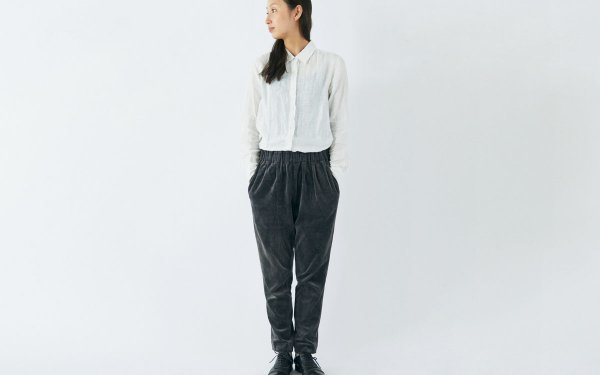 【sold out】enrica velour pants / dark gray (botanical dye)