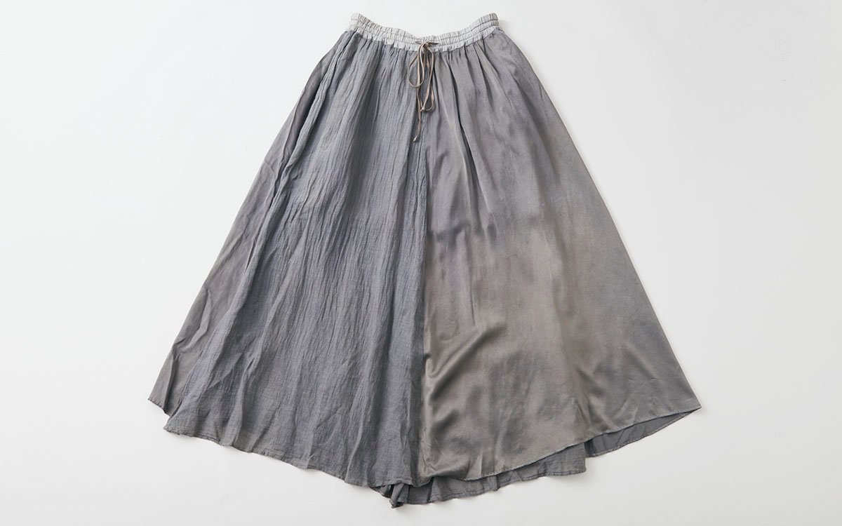 【sold out】enrica longskirt011 dark gray / botanical dye