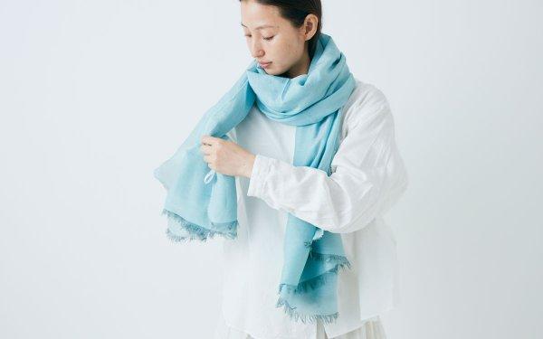 enrica cottonsilk scarf gardenia bleu / botanical dye