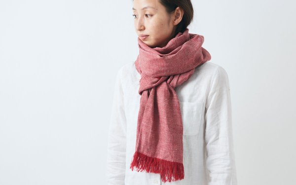 【sold out】enrica linen stole|herringbone|red