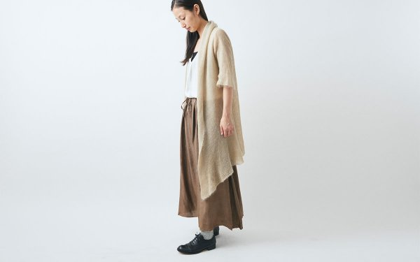 【sold out】enrica mohair&silk gown / kahki (botanical dye)