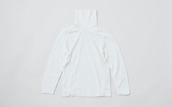 リネンニット 2重長袖タートルネックプルオーバー(オフホワイト)レディース