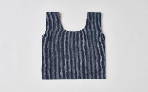 日本の布の手提げ|久留米絣|よろけ縞 紺×白