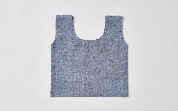 日本の布の手提げ|久留米絣|ネップ無地 灰×紺