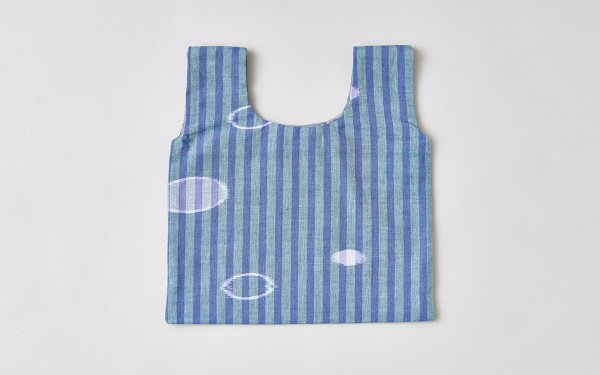 日本の布の手提げ|久留米絣|紫×緑