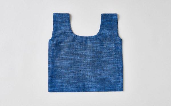 日本の布の手提げ|久留米絣|よろけ縞 青×黒