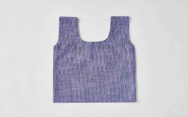 日本の布の手提げ|久留米絣|よろけ縞 紫×黒