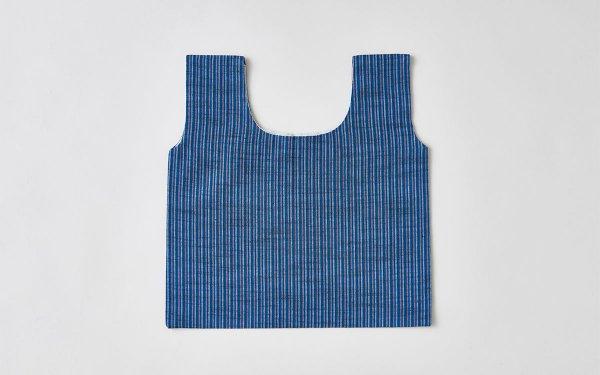 日本の布の手提げ|会津木綿|桃×青