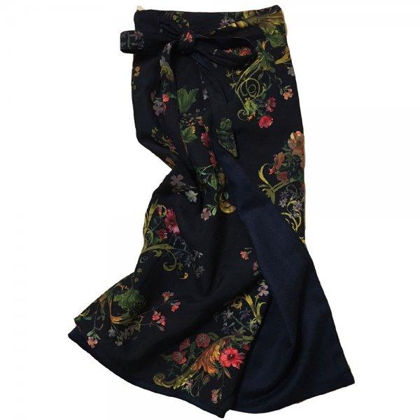 【sold out】renacnatta リバーシブル巻きスカート|ロング|Black Gold Flower