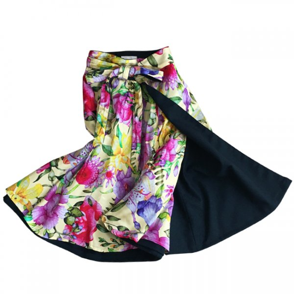 【sold out】renacnatta リバーシブル巻きスカート|フレア|Yellow Flower