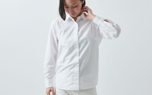HANDROOM women's スーピマコットンシャツ(ホワイト)