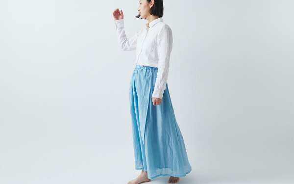 【sale】enrica cottonsilk skirt TURQUOISE / botanical dye