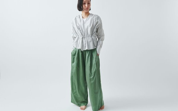 【new】enrica cottonsilk pants KHAKI / botanical dye
