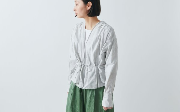 【new】enrica cottonsilk blouse light grey / botanical dye