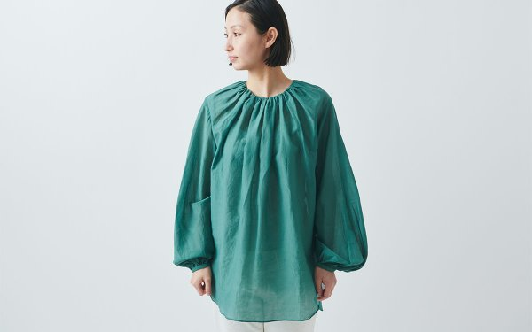 【new】enrica cottonsilk blouse green/ botanical dye