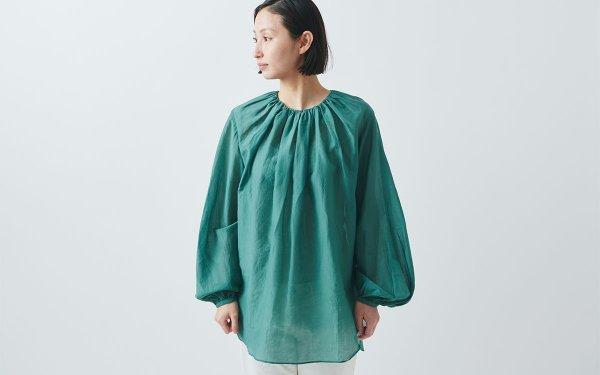 【new】enrica cottonsilk blouse green/ botanical dye