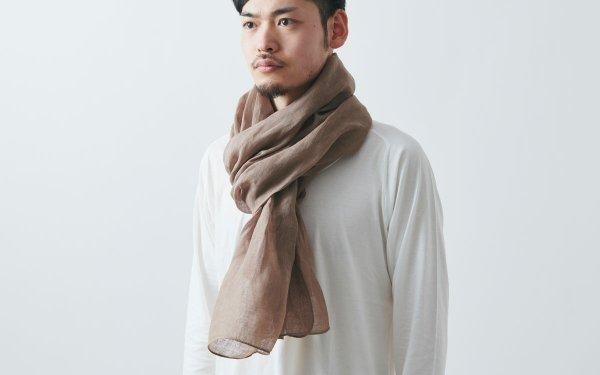 【sold out】草木染めリネンストール(ローズグレー|ヒノキ)