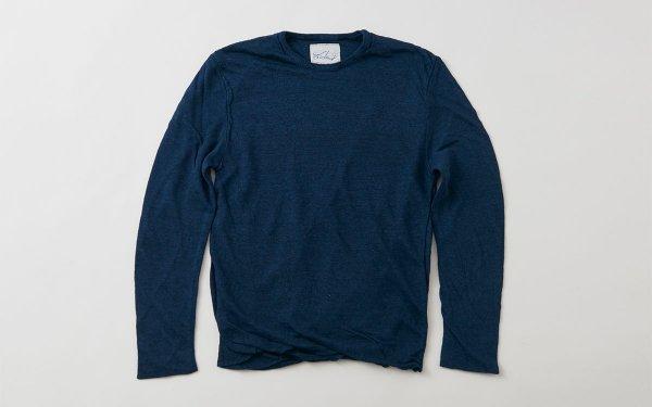 リネンニット メンズ長袖プルオーバー|ダークネイビー