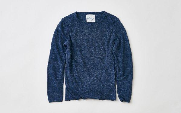 リネンニット メンズ長袖プルオーバー|杢ネイビー