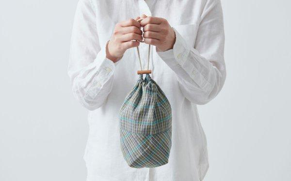 【再入荷】リネンコットンの巾着袋 khaki×blue