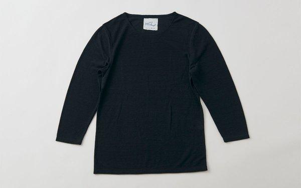 リネンコットンアンダーウェア|7分袖|ブラック