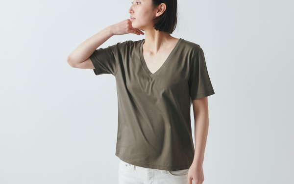【sold out】HANDROOM women's Vネック半袖Tシャツ khaki |ladies S/M