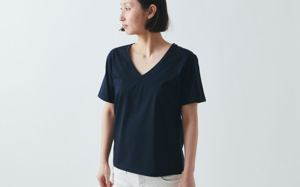 【sold out】HANDROOM women's Vネック半袖Tシャツ navy|ladies S/M